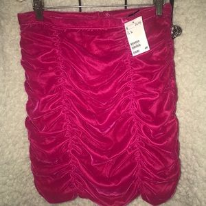 H&M Pink Velvet Rouged Skirt Size 8